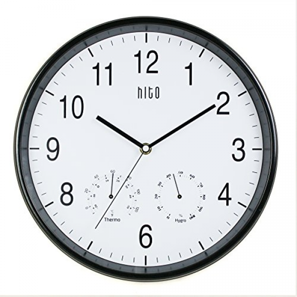 HITO 12 Inches Silent Non-ticking Wall Clock w/ Metal Frame and ...