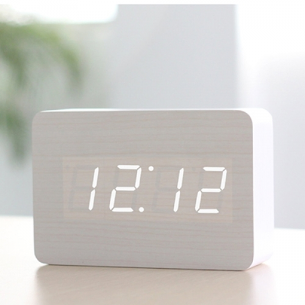 Amazon.Com Hito Wood Grain Led Alarm Clock Time Temperature Date Sound ...