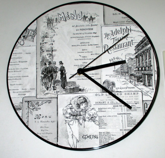 Old world menu look quartz Wall Clock 12 upcycled Record Home Decor ...