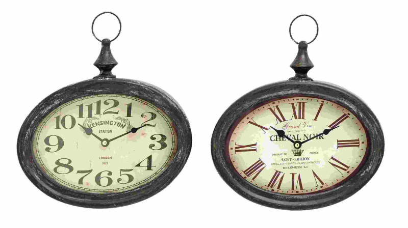 Oval Pair - Metal Clock Wall Art [NMD52519]