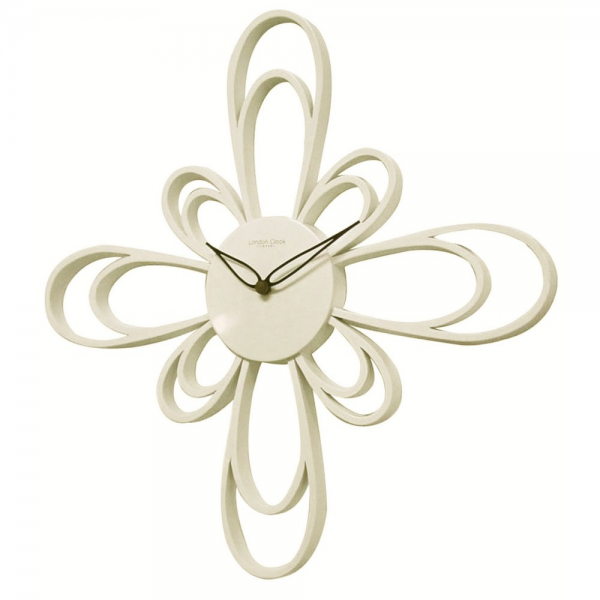 ... Clock Co › London Clock Co Large Off White Petal Modern Wall Clock