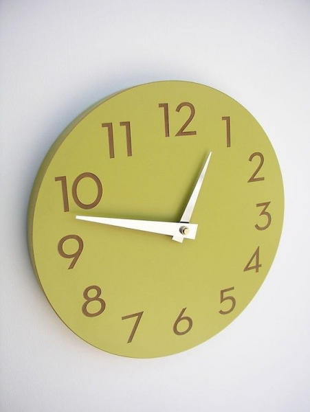 modern wall clock with numbers chartreuse