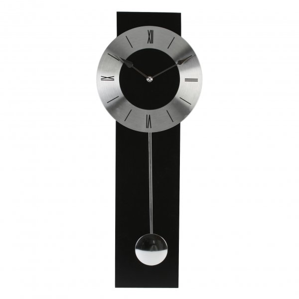Wm Widdop Black And Silver Modern Pendulum Wall Clock | Adelbrook ...