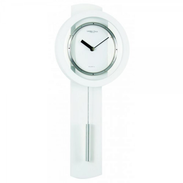 ... CLOCK COMPANY WHITE MATT FINISH CONTEMPORARY MODERN PENDULUM WALL