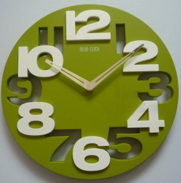 3D Big Digit Modern Contemporary Home Decor Round Wall Clock Green ...