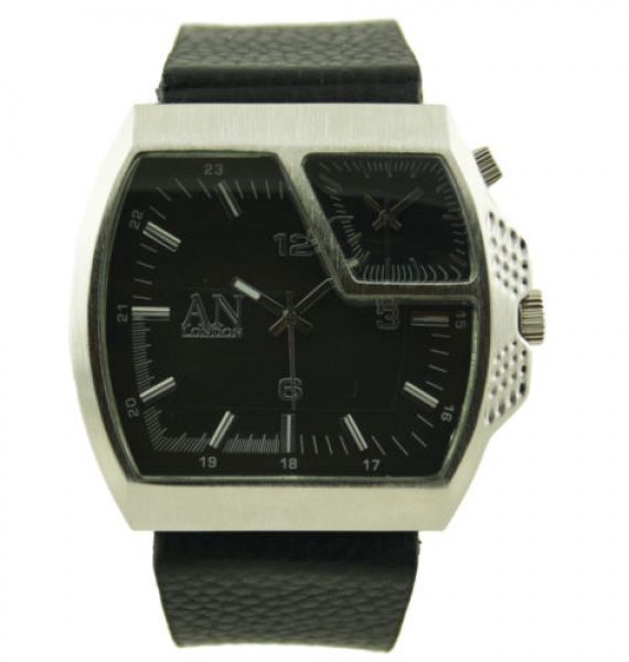 ... Wide Leather Strap & Dual Time Zone Men's/Boy's Fashion Watch-AN3832
