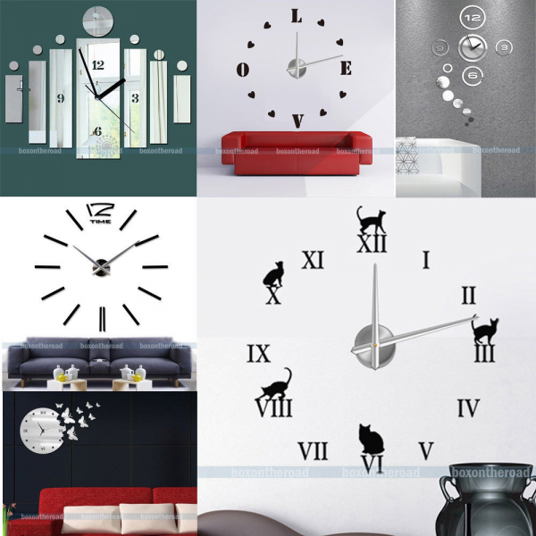 New Large Frameless DIY 3D Wall Clock Modern Mirrors Clock Watch Home ...