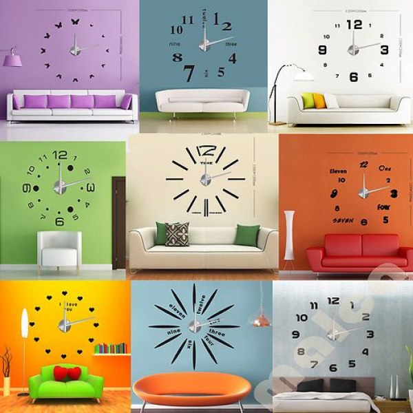 3D Modern Designs Frameless Large Wall Clock DIY Home Decor Style Wat ...