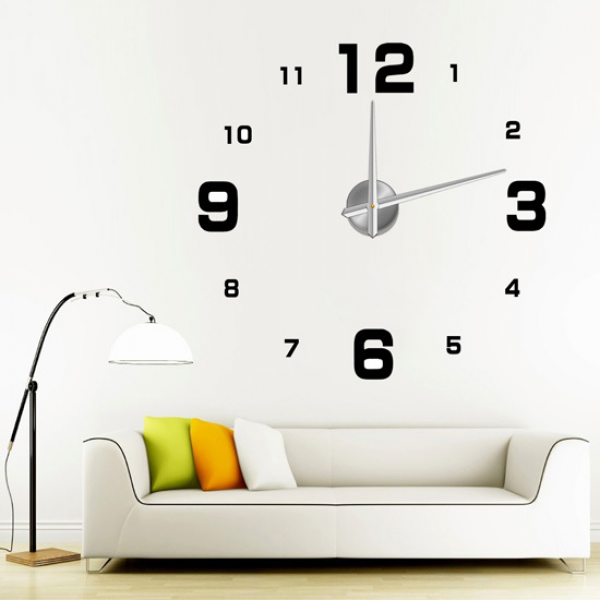 DIY Large Frameless Wall Clock Modern Home Decor 3D Numbers Stickers ...