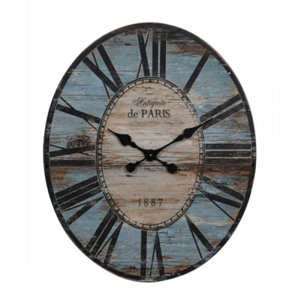 Creative Co-op - Oval Antique Turquoise Paris Wall Clock