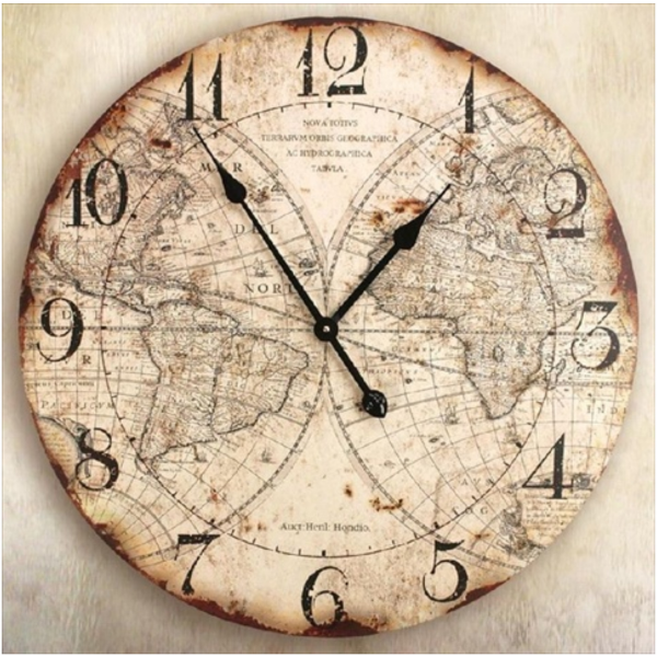 Manual Woodworkers And Weavers World Map Ground Decorative Clocks 23.5 ...