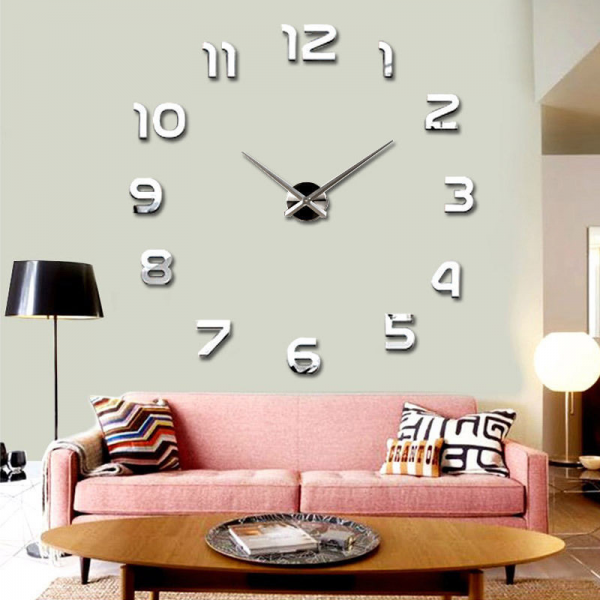 New Large Number Wall Clock DIY 3D Mirror Sticker Home Decor Art ...