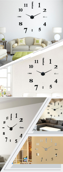 ... Large Number Wall Clock Sticker Decor for Home Office Silver (EXPORT