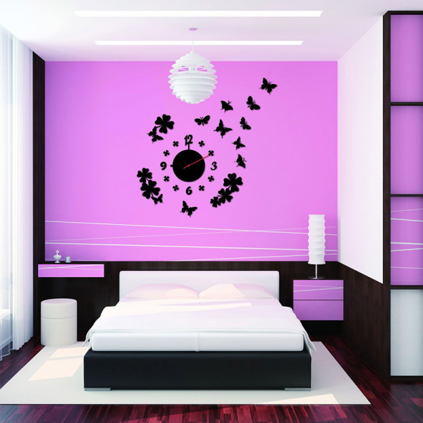New Home Decor DIY Fashion Wall Clock Wall Decal Sticker Real Clock 3D ...