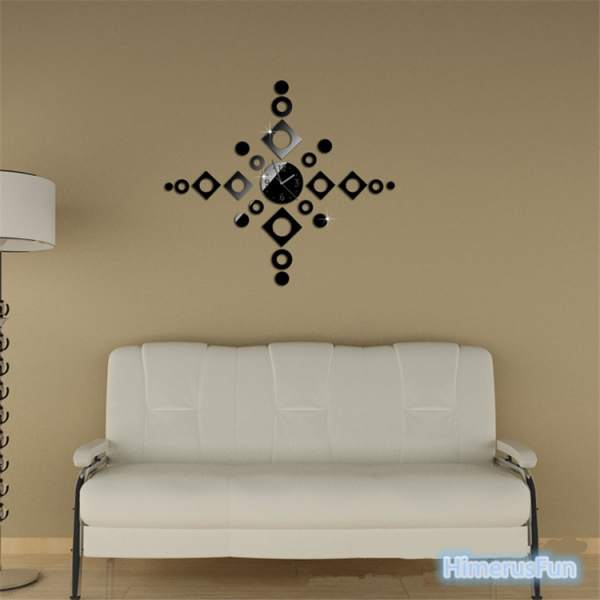 ... DIY Frameless Wall Clock Decal Modern Home Decor 3D Mirror Stickers