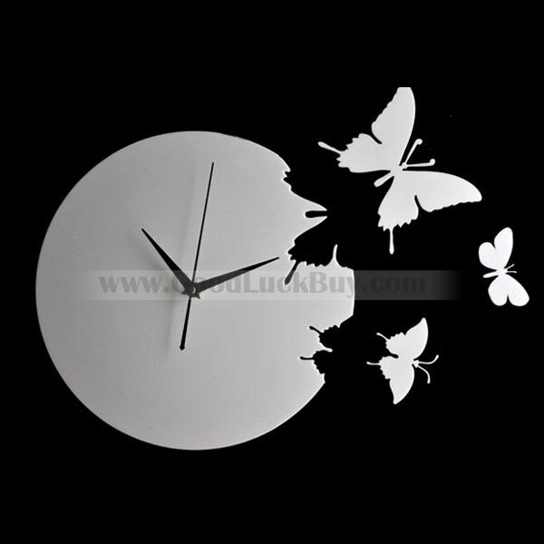 Wall Clock Butterfly Style Gift Decor Room Ornament Art 3colors
