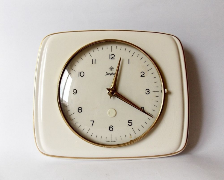 ... Art Deco Style 1960s Ceramic Kitchen Wall Clock Junghans German Decor