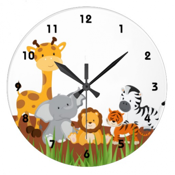 Cute Jungle Baby Animals Wall Clocks Wall Clock | Zazzle