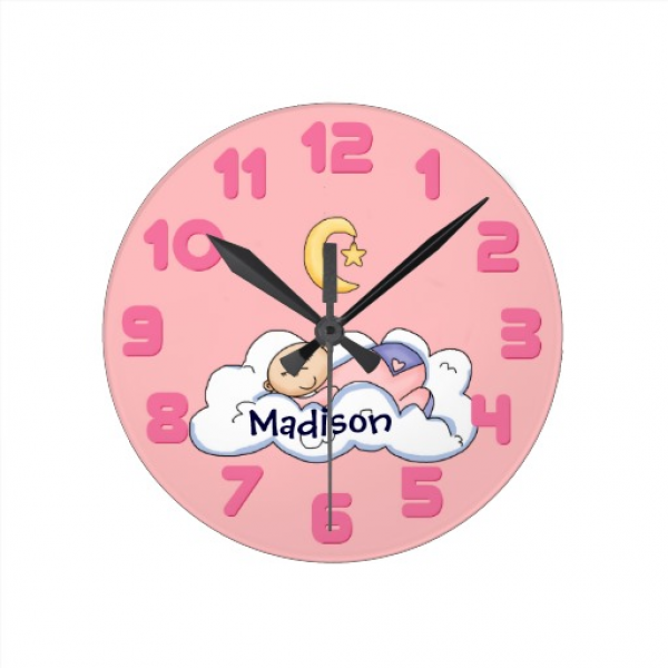 Personalized Sleeping Baby Girl Wall Clock | Zazzle