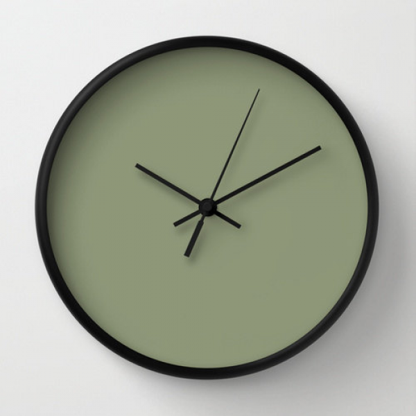 Artichoke Clock, #8F9779, Green Wall Clock, Green Clock, Wall Clock ...