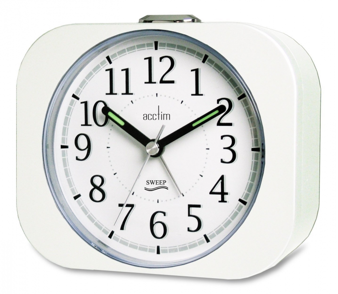 ... Murrino Sweeper Non Ticking Alarm White Clock New 14442 Backlight