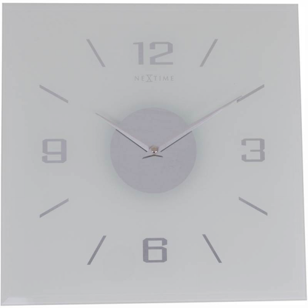 Nextime Willie Glass Wall Clock 35Cm Silver Hands And Dial Timepiece ...