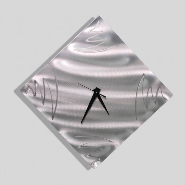 Abstract Art Silver Metal Wall Clock Home Decor Blurred Lines by Jon ...