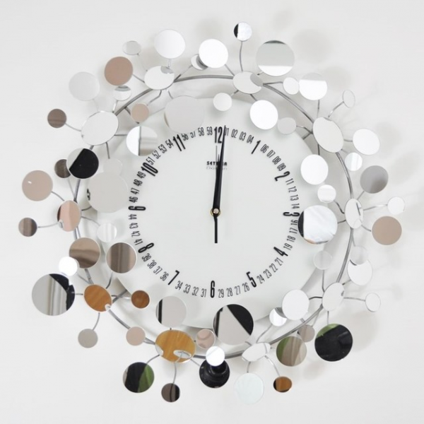 Mirror Floral Metal Wall Clock modern-wall-clocks