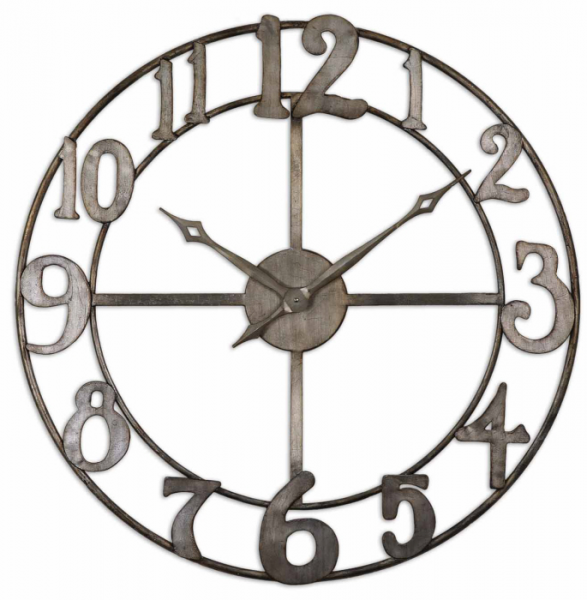 Contemporary Metal Wall Clock Open Gallery Design Silver Modern | eBay