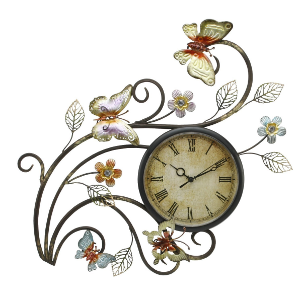 Butterfly Wall Clock - Contemporary Metal Wall Art with Clock