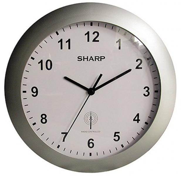 Sharp SPC890 Quartz Analog Atomic Wall Clock SPC890, with Silver Case ...