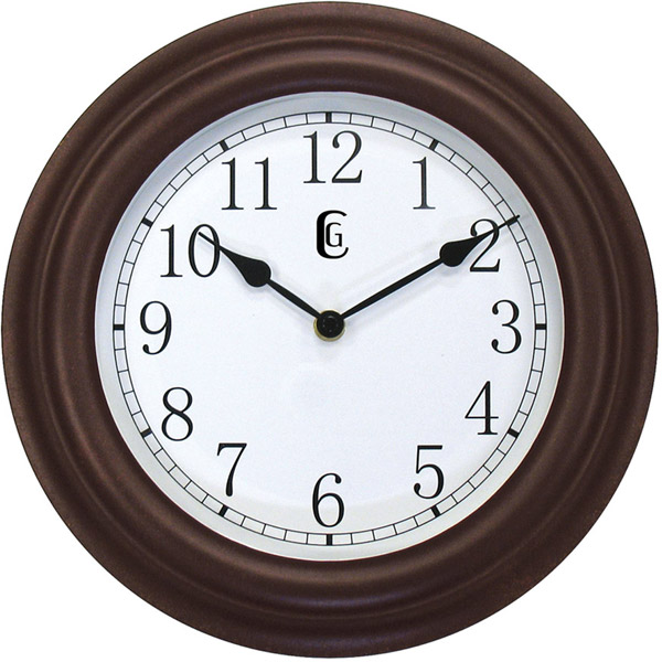 Geneva Brown Battery-Operated 11.5 Inch Indoor Wall Clock