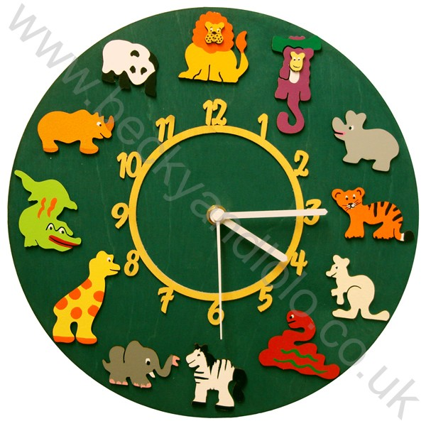 Childrens Wall Clocks, Kids Wall Clocks Jungle | Becky & Lolo