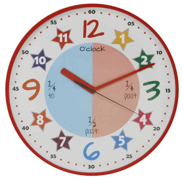 Teach The Time Colourful Childrens Wall Clock Red