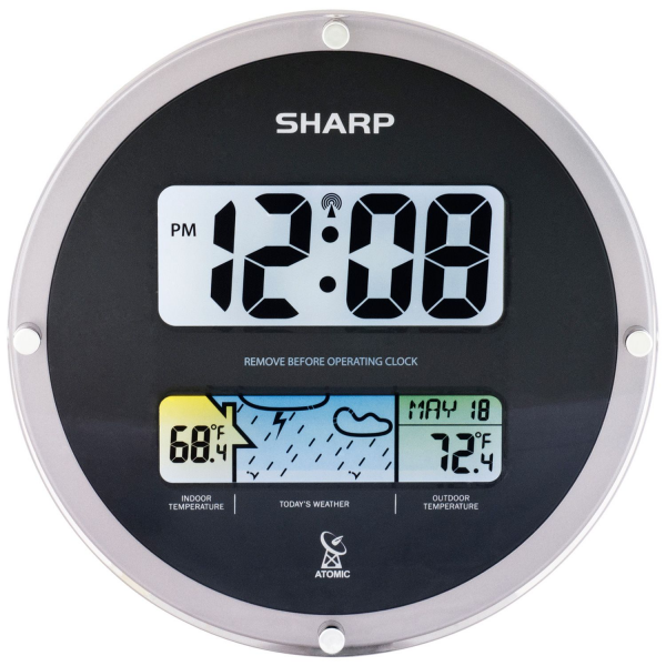 Details about Sharp Suspended Glass Wall Clock - Black