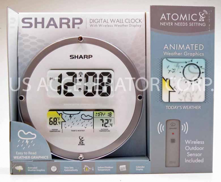 Details about New SHARP ATOMIC DIGITAL WALL CLOCK w/ WIRELESS OUTDOOR ...