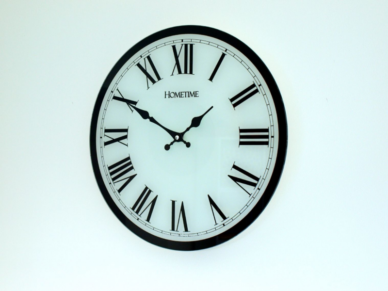 Glass Wall Clock 38cm. White Clock Face with Black Roman Numerals and ...