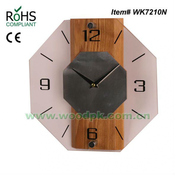 wood and glass wall clock decorative item, View glass wall clock ...