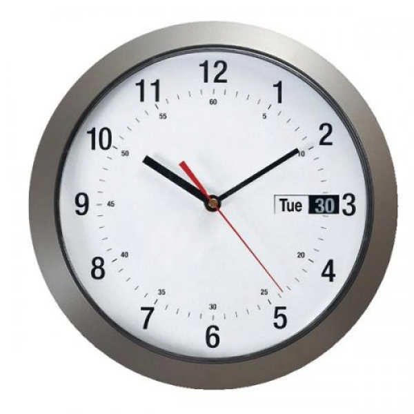 Cheap Stationery Supply of Wall Clock with Day and Date Metallic Case ...