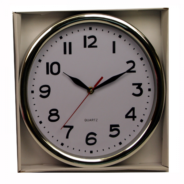 wall clock with quartz movement aa battery operated silver rim wall ...