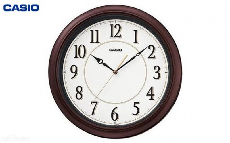 BLACK CASIO Analog Japanese Quartz Wall Clock White Face IQ-60-5DF ...