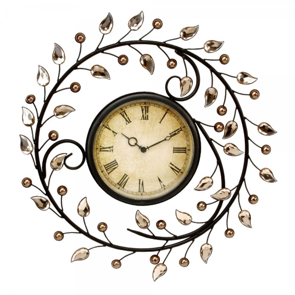 Contemporary Autumn Leaves Metal Wall Art with Clock