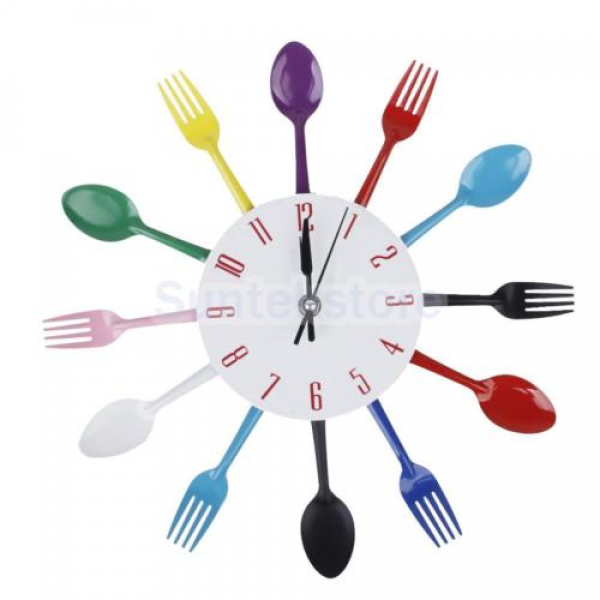Modern Colorful Cutlery Kitchen Utensil Wall Clock Aluminum Spoon Fork ...