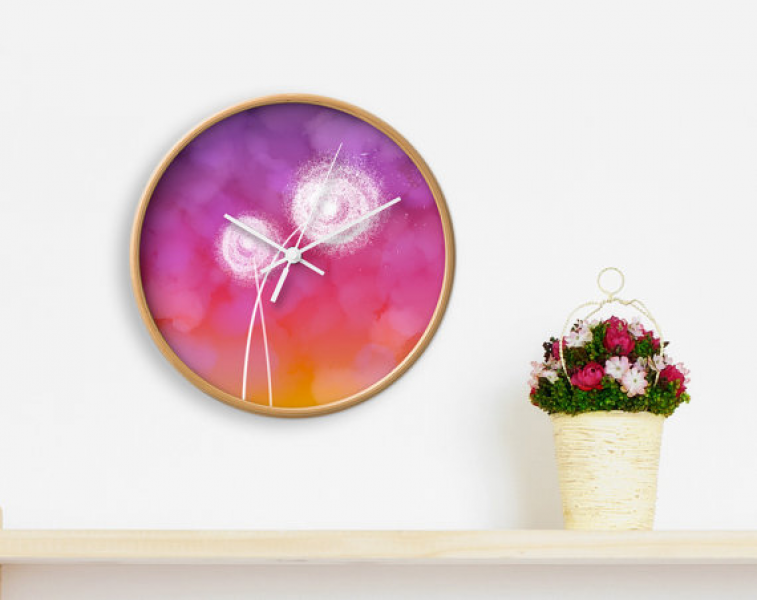 Dandelion CLOCK, Modern Wall Clock, Colorful home decor, modern office ...