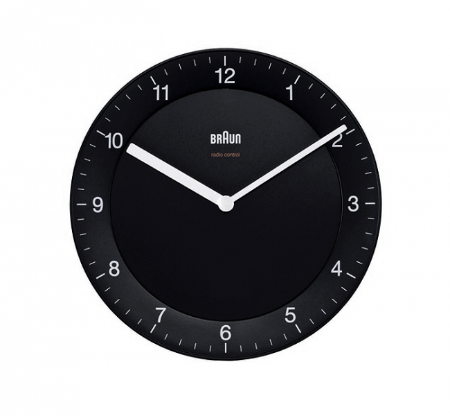 Braun Quartz Black Wall Clock