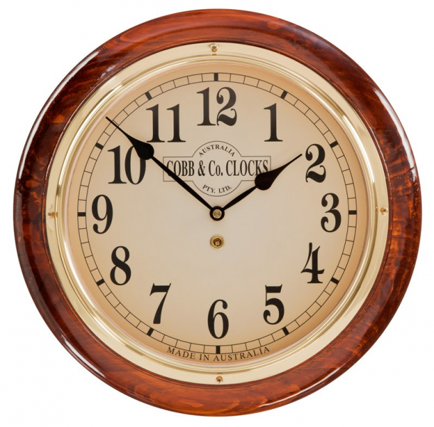 ... & Co Medium Railway Wall Clock. Arabic Numerals, Golden Oak Finish