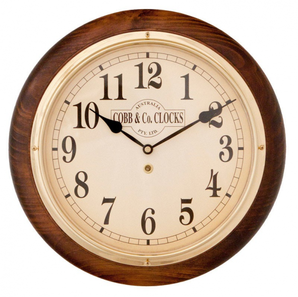 Cobb & Co Medium Railway Wall Clock, Arabic Numerals, Antique Finish ...