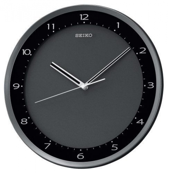 Seiko Wall Clock Quiet Sweep Second Hand Clock Black Metallic Case $41 ...