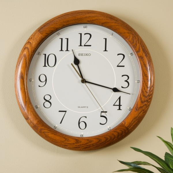Seiko Brown Oak Quiet Sweep 13-in. Wall Clock - Wall Clocks at ...