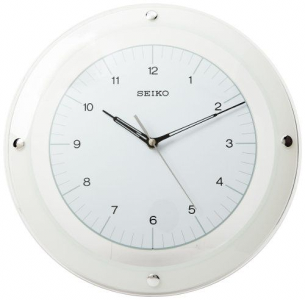 Seiko Wall Quiet Sweep Second Hand Clock Curved Glass Crystal White ...